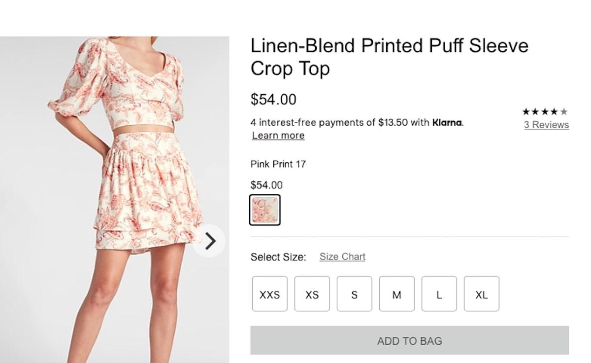 Linen-Blend Printed Puff Sleeve Crop Top and Ruffle Mini Skirt