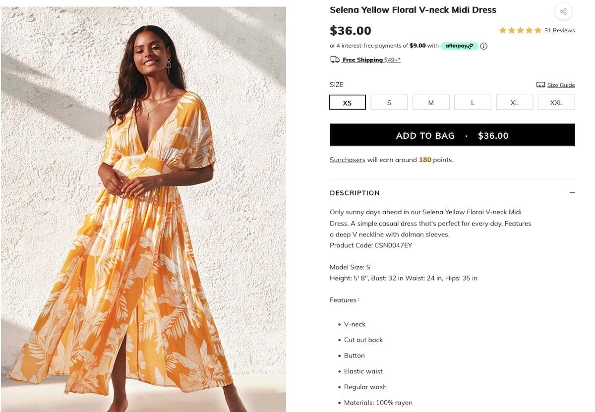 Selena Yellow Floral V-Neck Midi Dress