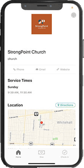 screenshot of the strongpoint church center app mocked up on a phone