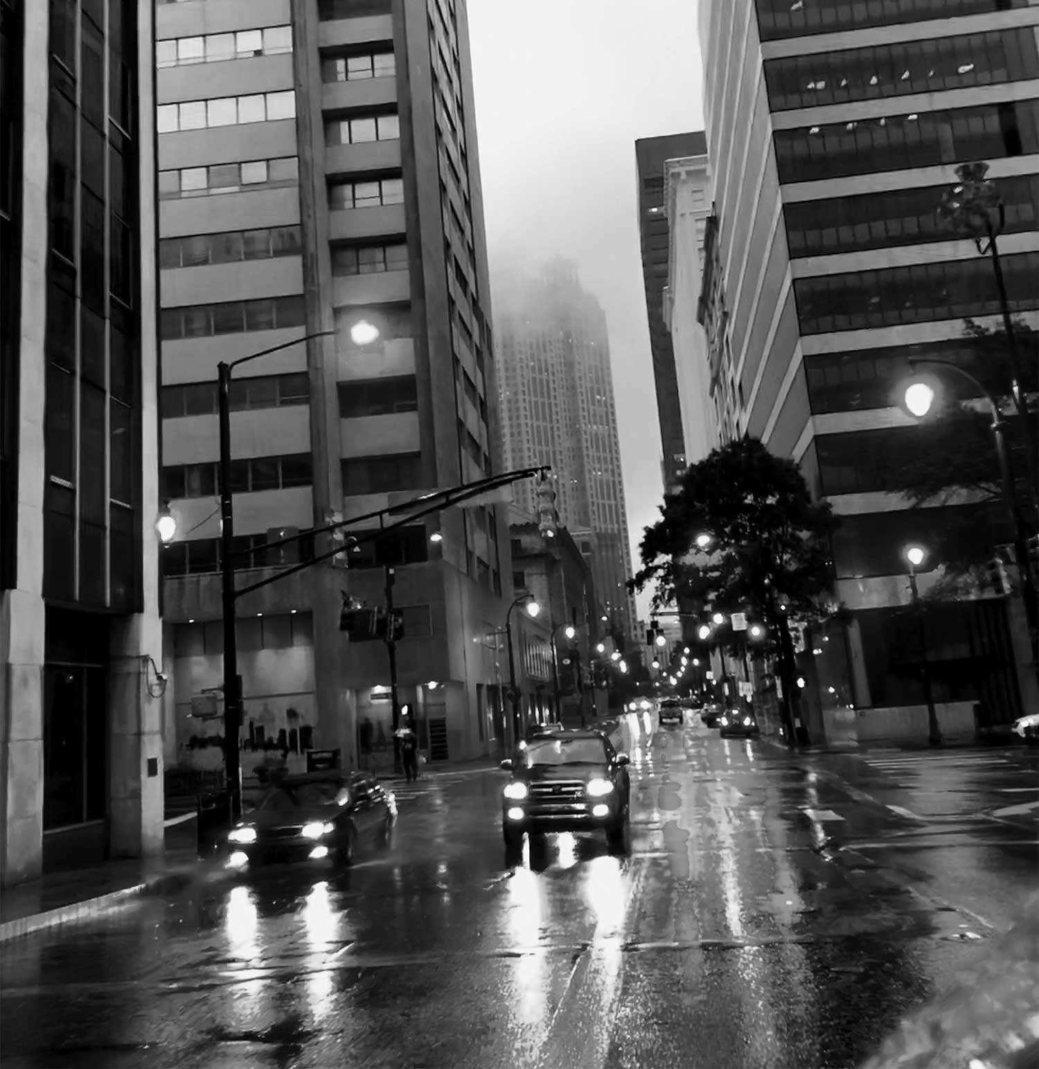 Photo of a city street in the rain