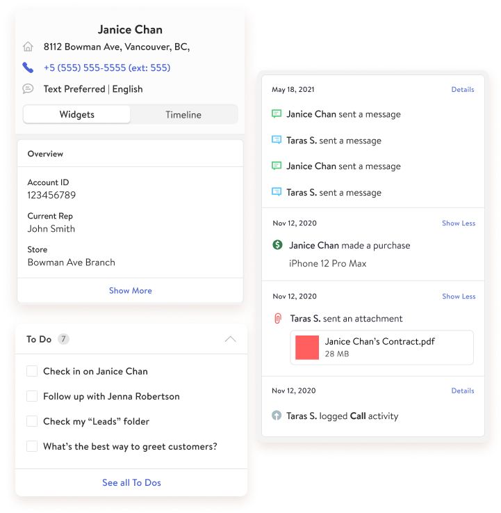 TextKit Widgets showing customer details