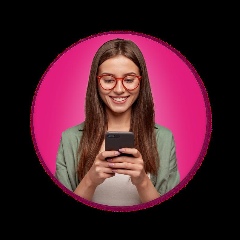 Happy customer texting