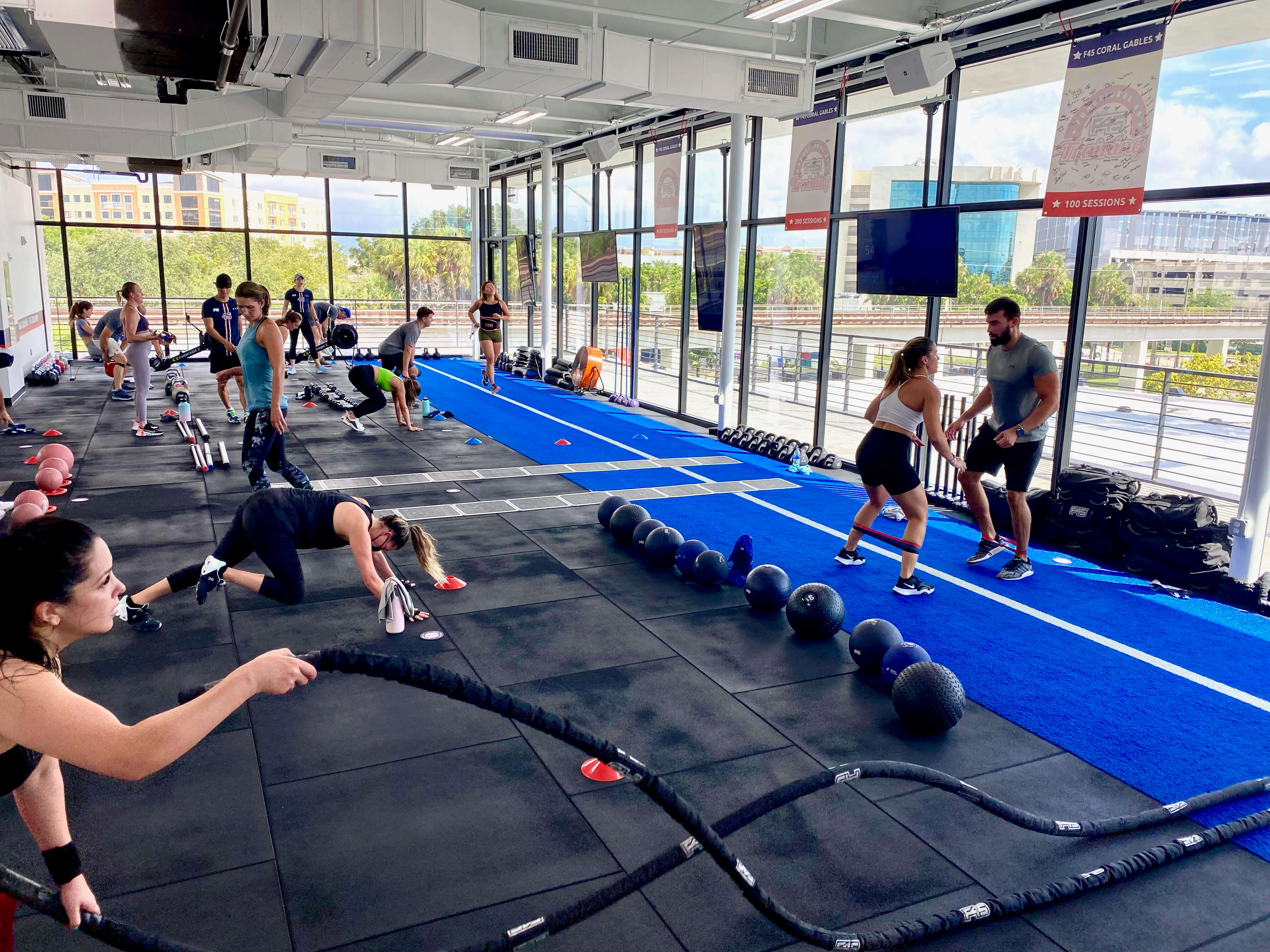 people participating in an F45 workout