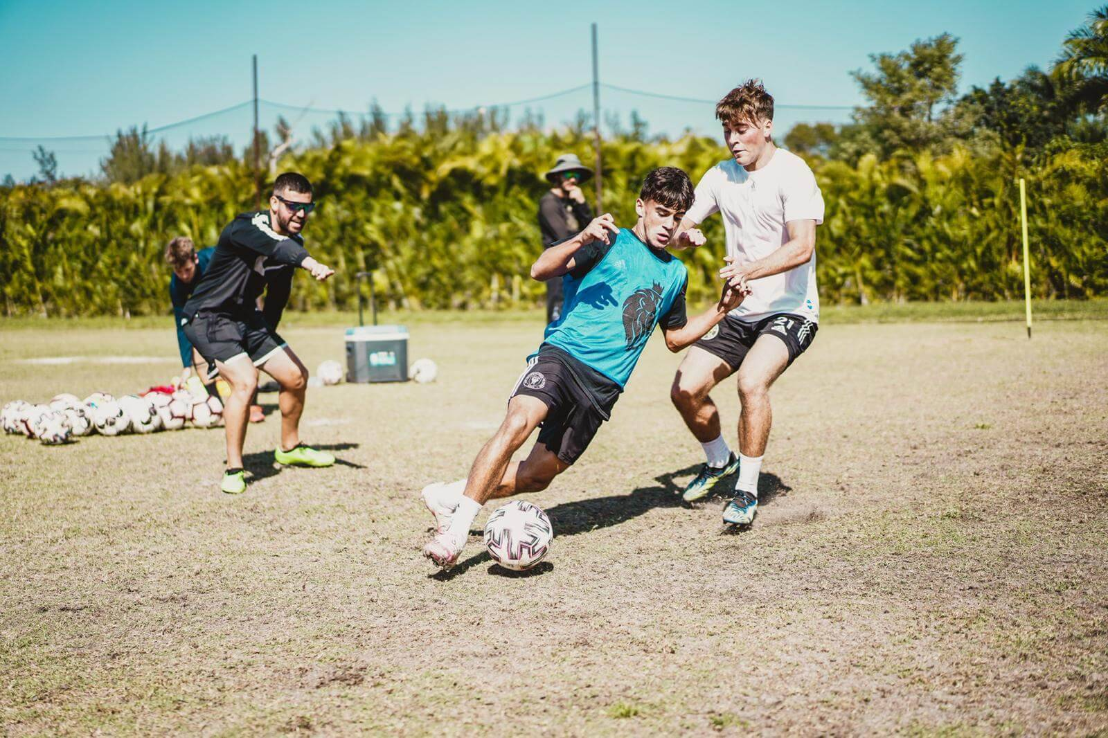 SAT Soccer athletes participate in a drill