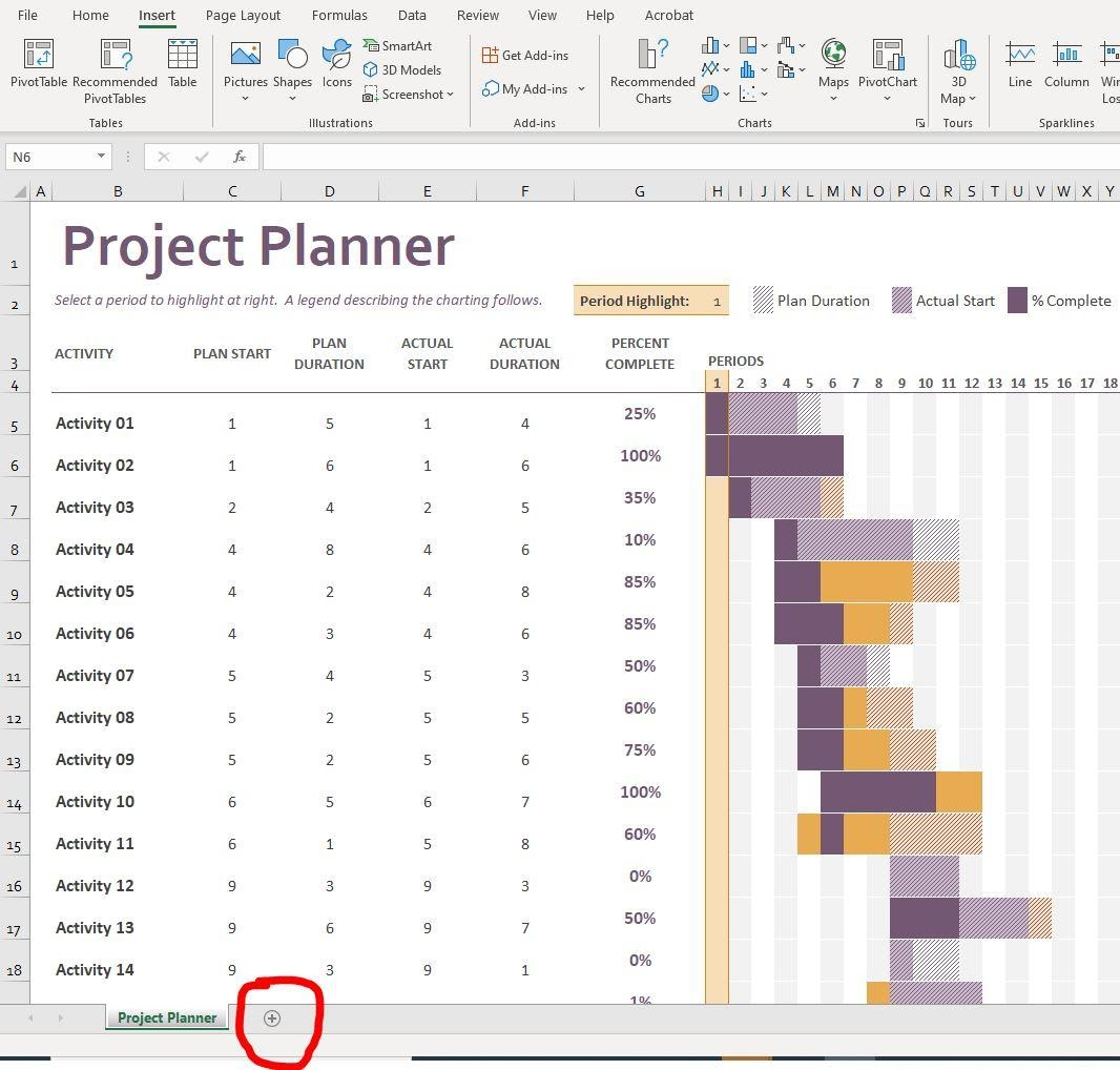 project planner template excel