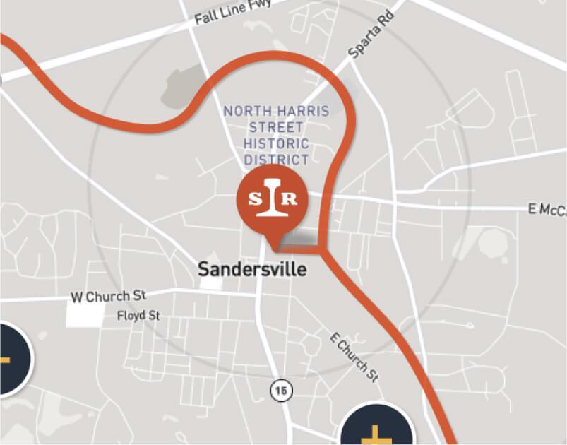 Sandersville Railroad Company service map