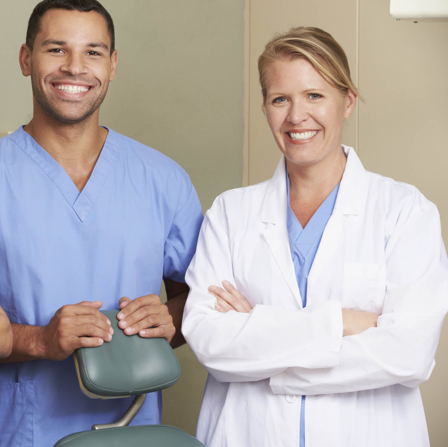 dentist and dental assistant
