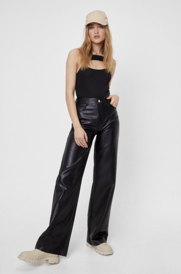Girl with leather pants