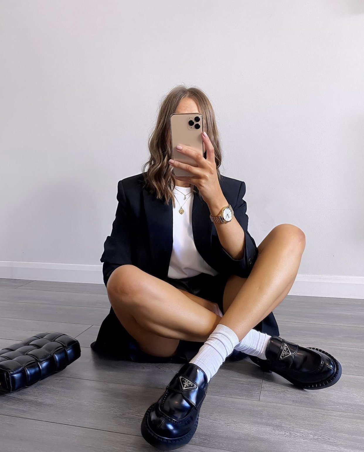 Girl with crossed legs
