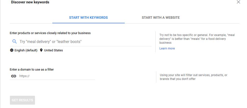 Google Keyword Planner screenshot start with website