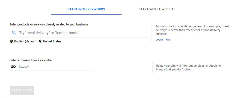Google Keyword Planner Step 2