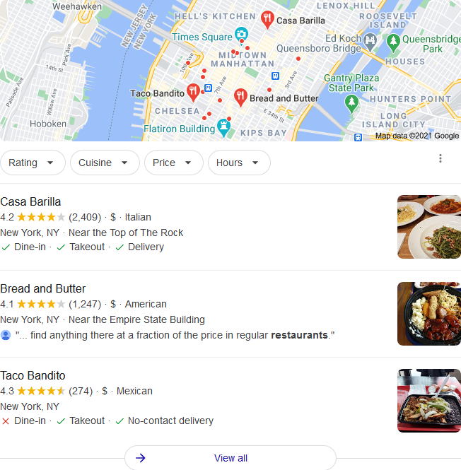 Example of Google 3 pack for small business seo services