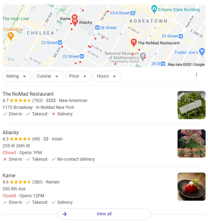Local SEO services - local box example