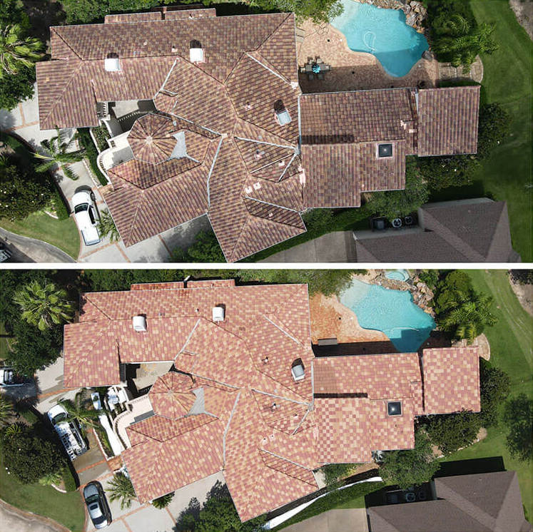 before and after of soft washing roof cleaning by america's cleaning solutions