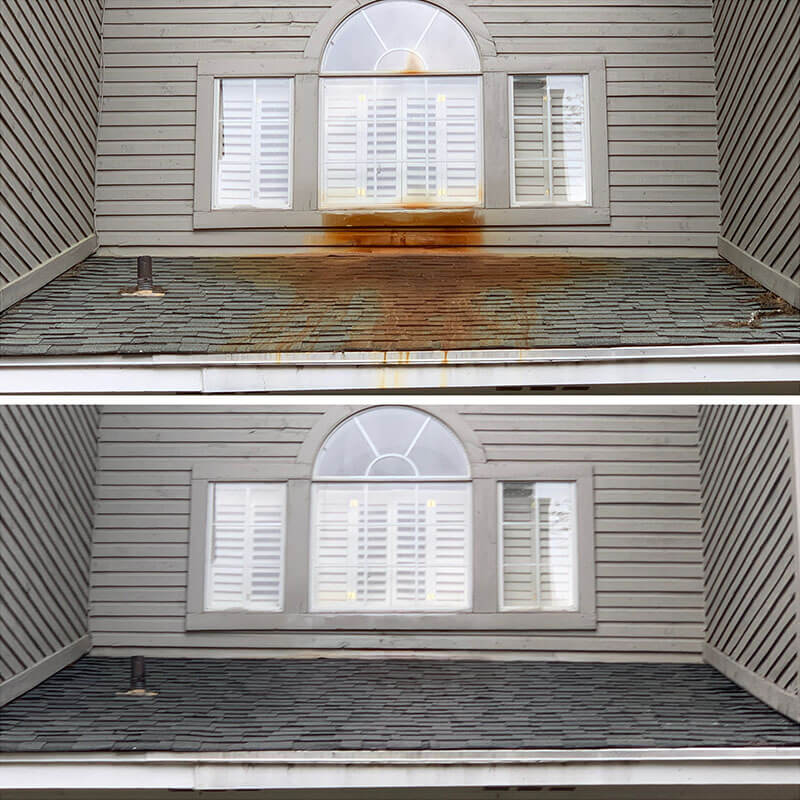 before and after soft washing of roof to remove rust stains by america's cleaning solutions