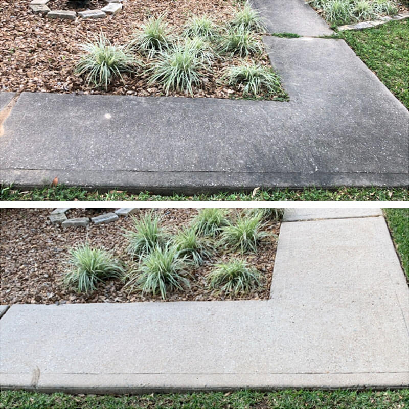 before after pressure washing of concrete pathway by america's cleaning solutions