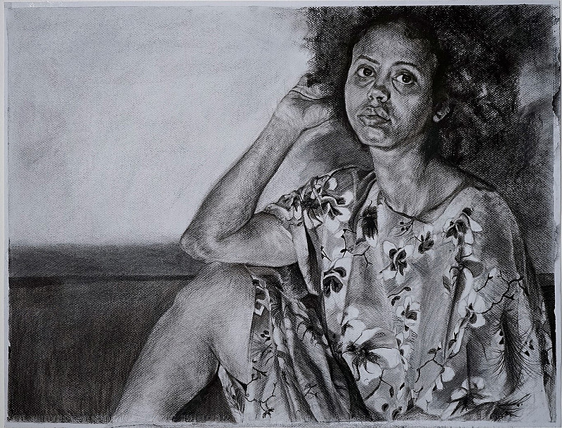 With nothing but her charcoal, she captures contemplative moments of the woman in her work