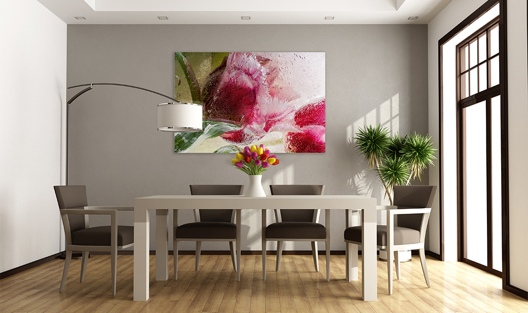 Tulip art print on wall.