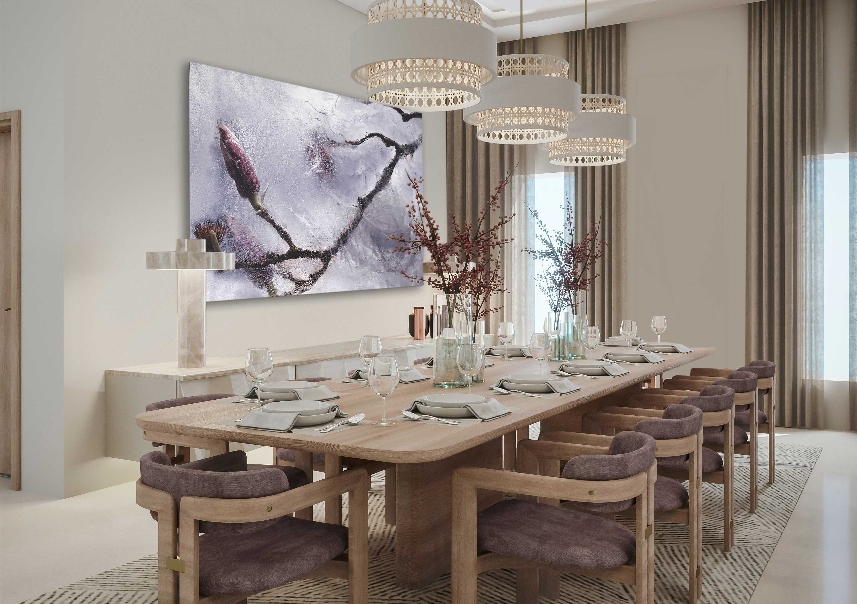Elegant dining room with floral wall art from the Still collection.