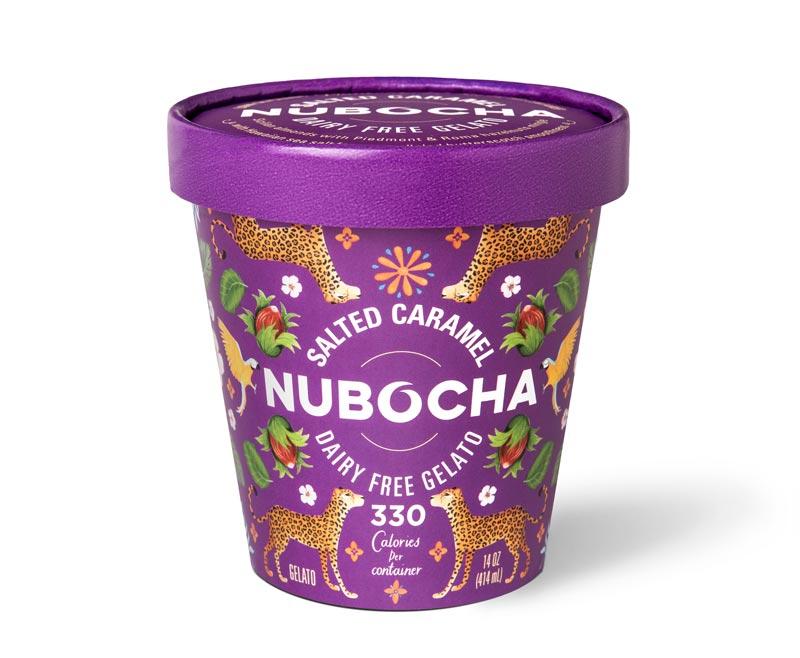 "Purple gelato pint on a white background with ""Salted Caramel"" ""Nubocha"" ""Dairy Free Gelato"" written on it"