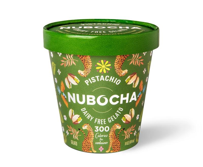 "Green gelato pint on a white background with ""Pistachio"" ""Nubocha"" ""Dairy Free Gelato"" written on it"