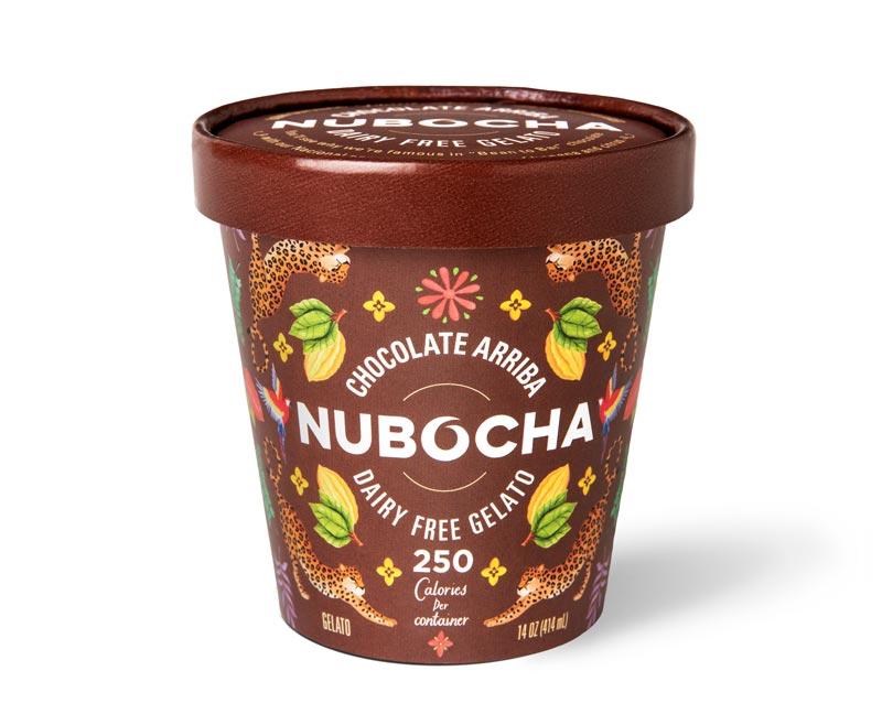 "Brown gelato pint on a white background with ""Chocolate Arriba"" ""Nubocha"" ""Dairy Free Gelato"" written on it"