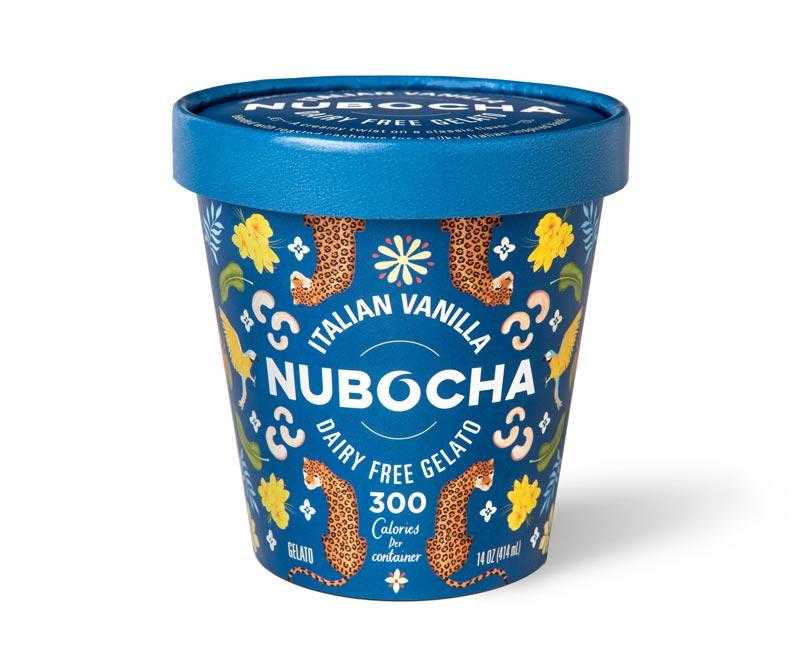"Blue gelato pint on a white background with ""Italian Vanilla"" ""Nubocha"" ""Dairy Free Gelato"" written on it"