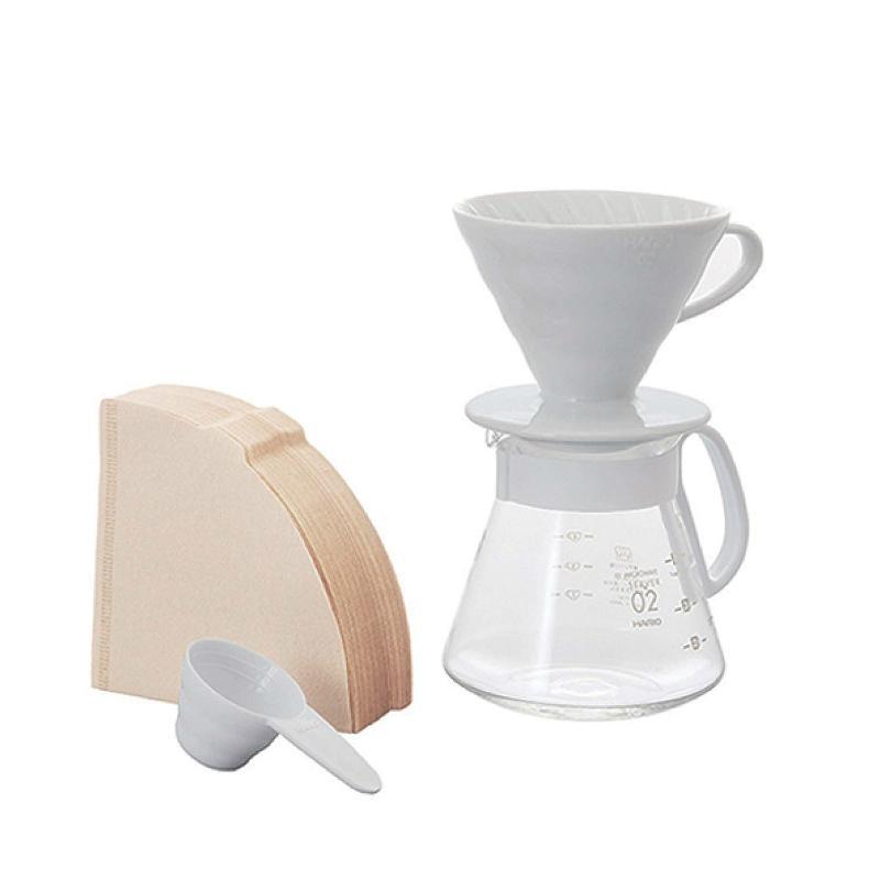 HARIO V60 02 經典白色陶瓷濾杯 咖啡壺組套裝 Ceramic Dripper Set (1-4杯) XVDD-3012W