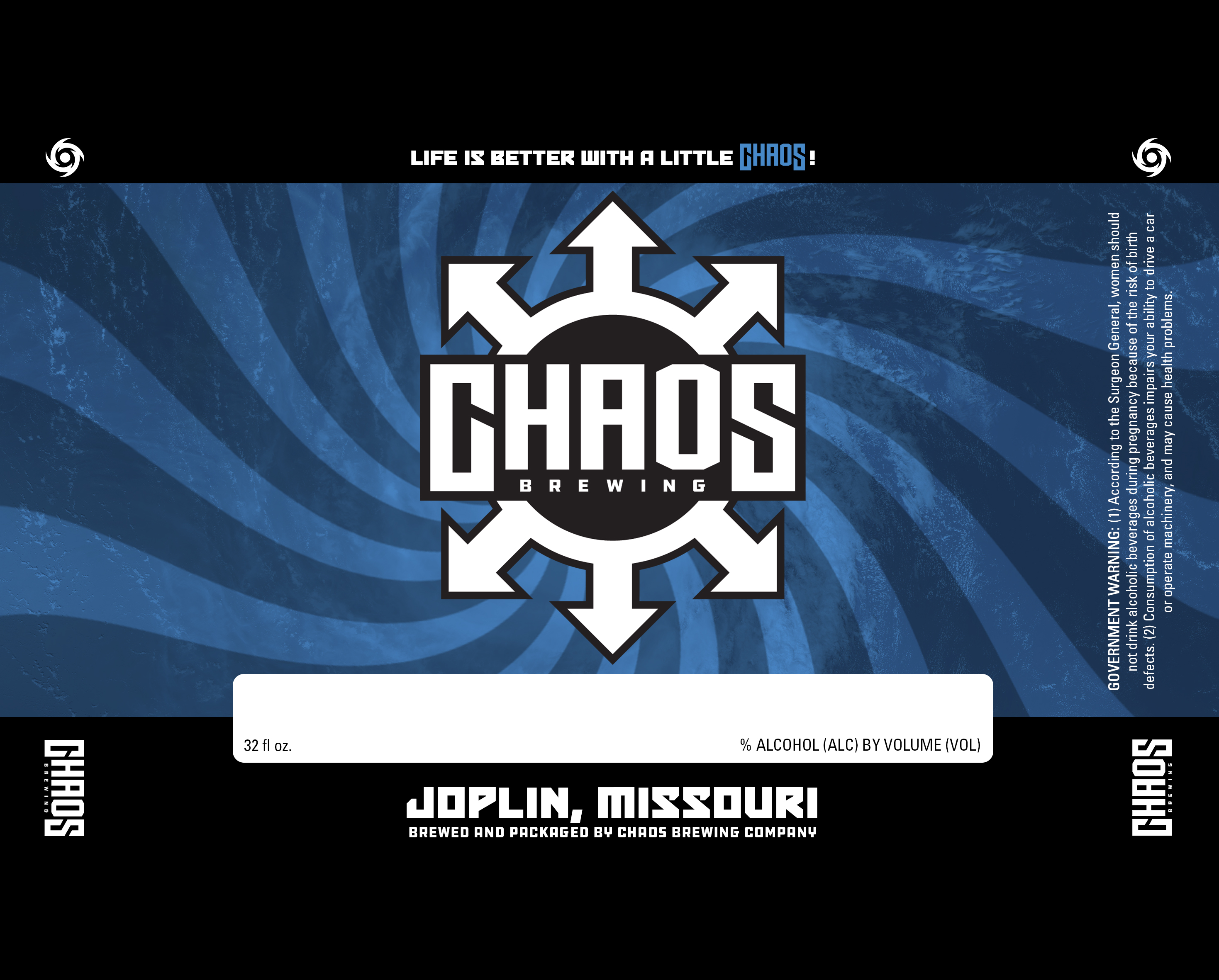 Chaos Brewing Company Can Label Graphic Design