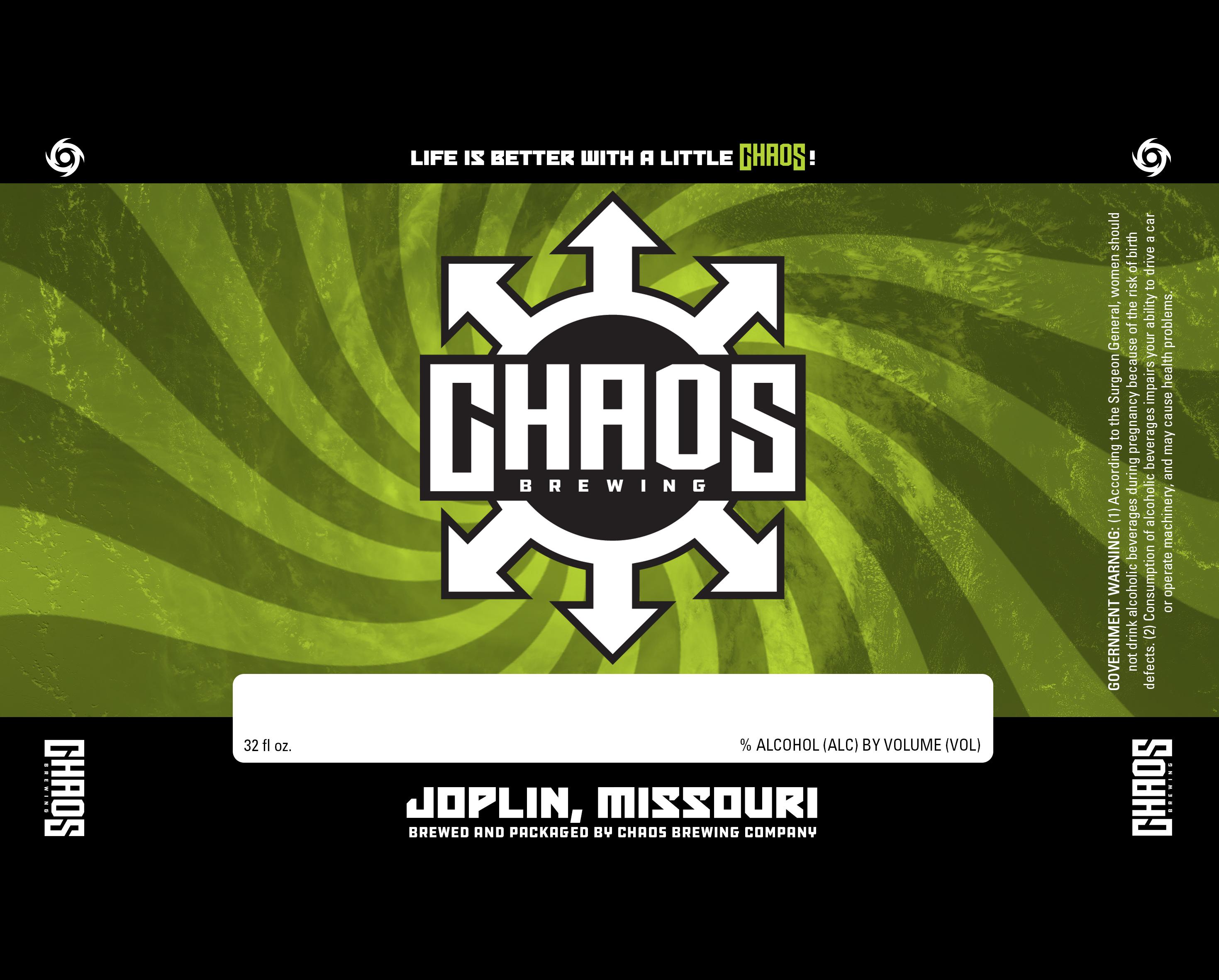Chaos Brewing Company Can Label Graphic Design Joplin