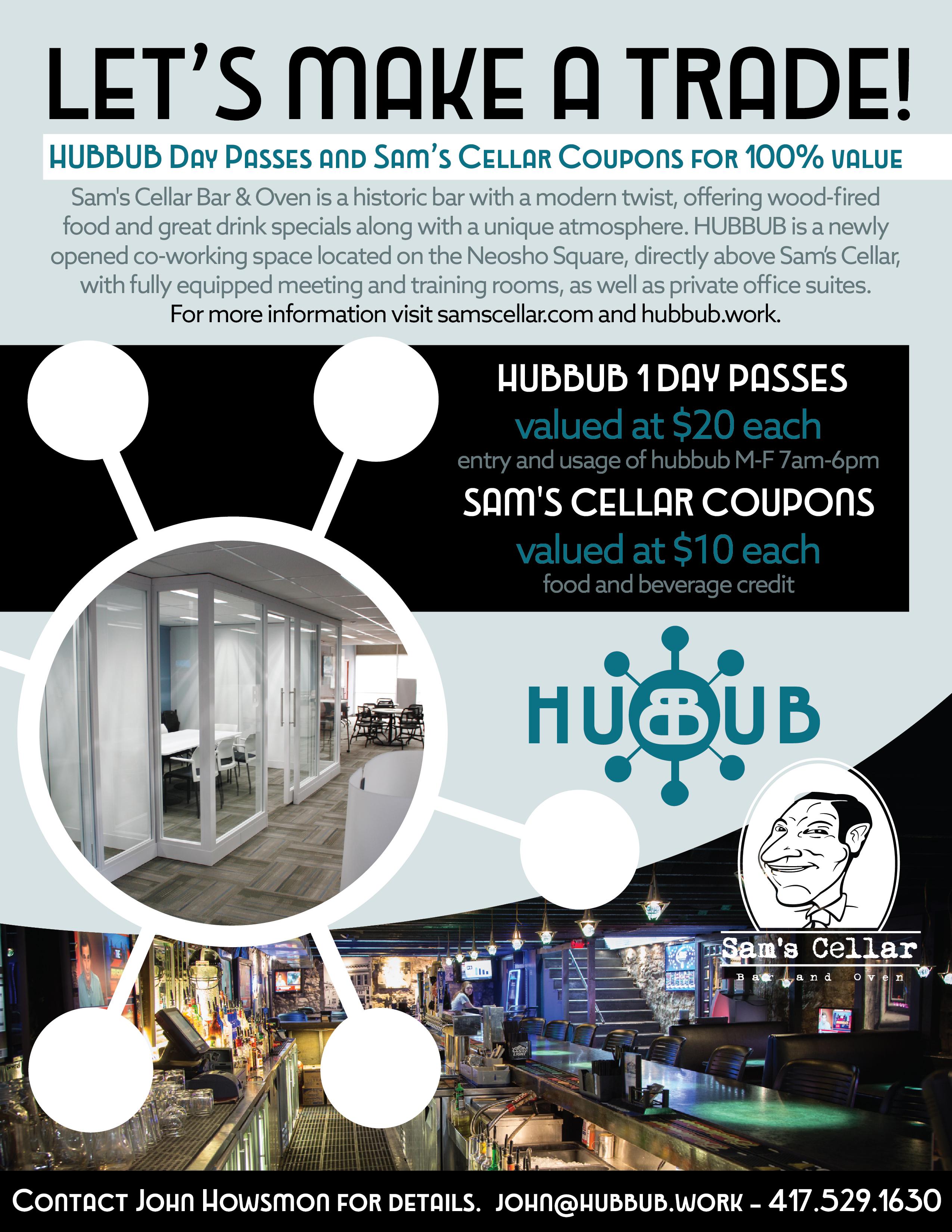 Sam's Cellar Hubbub Flyer Graphic Design