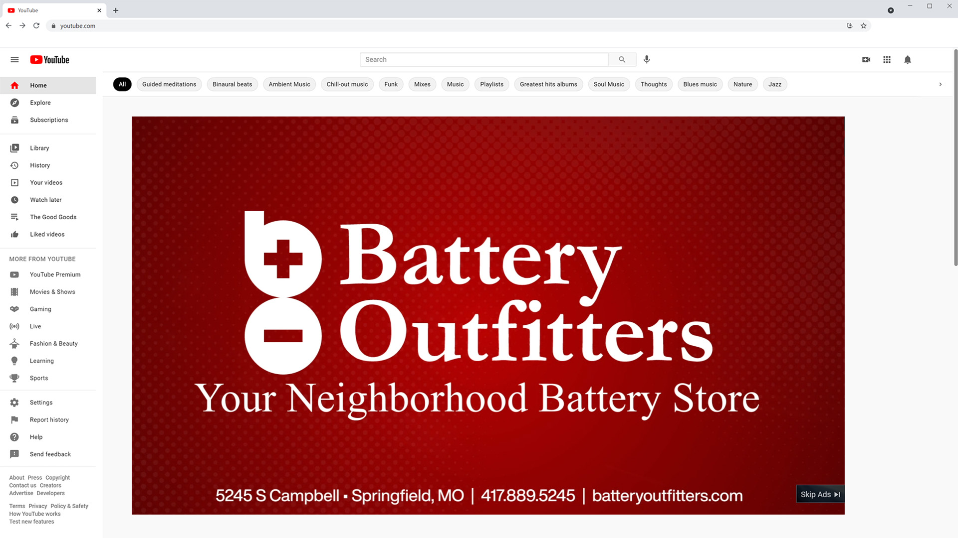Digital Advertising Battery Outfitters YouTube Ad