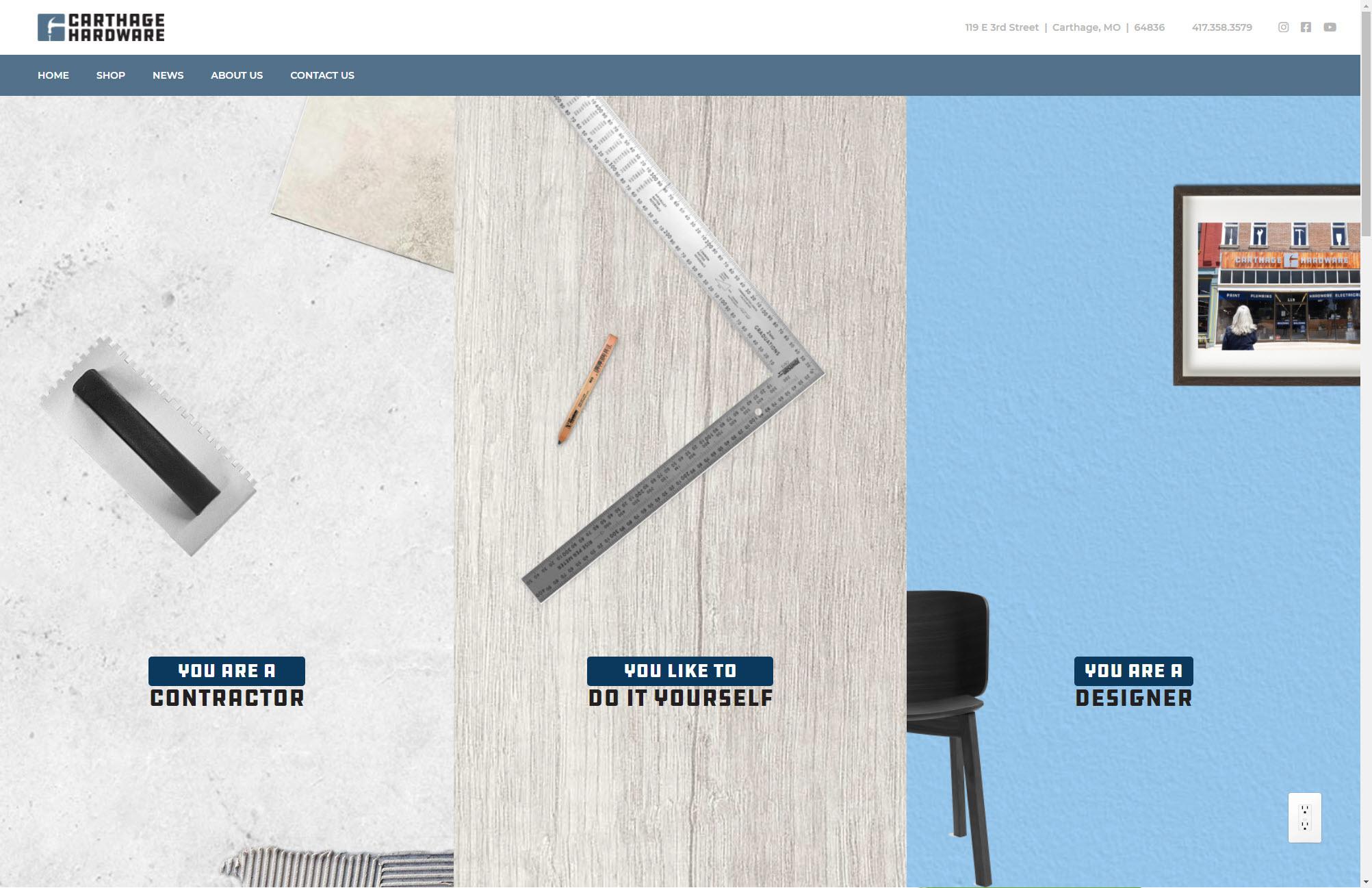 Carthage Hardware Homepage Web Design Joplin Mo