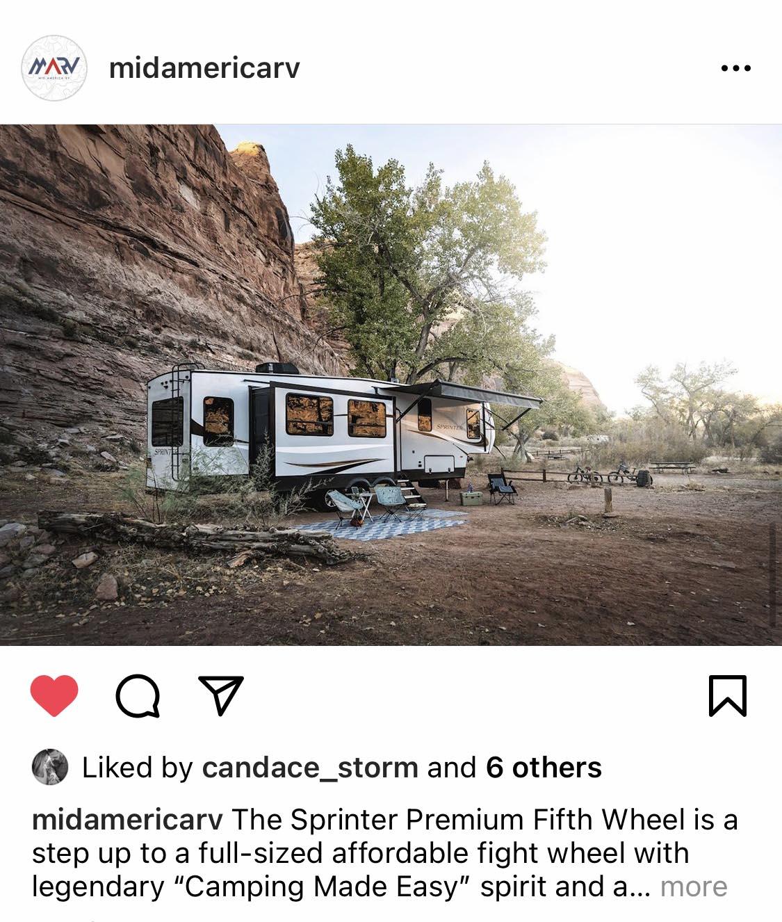 Mid America RV Instagram Post Social Media Management