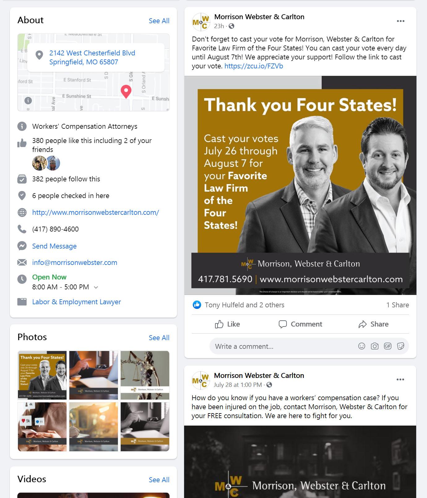 Morrison Webster Carlton Facebook Page Social Media Management