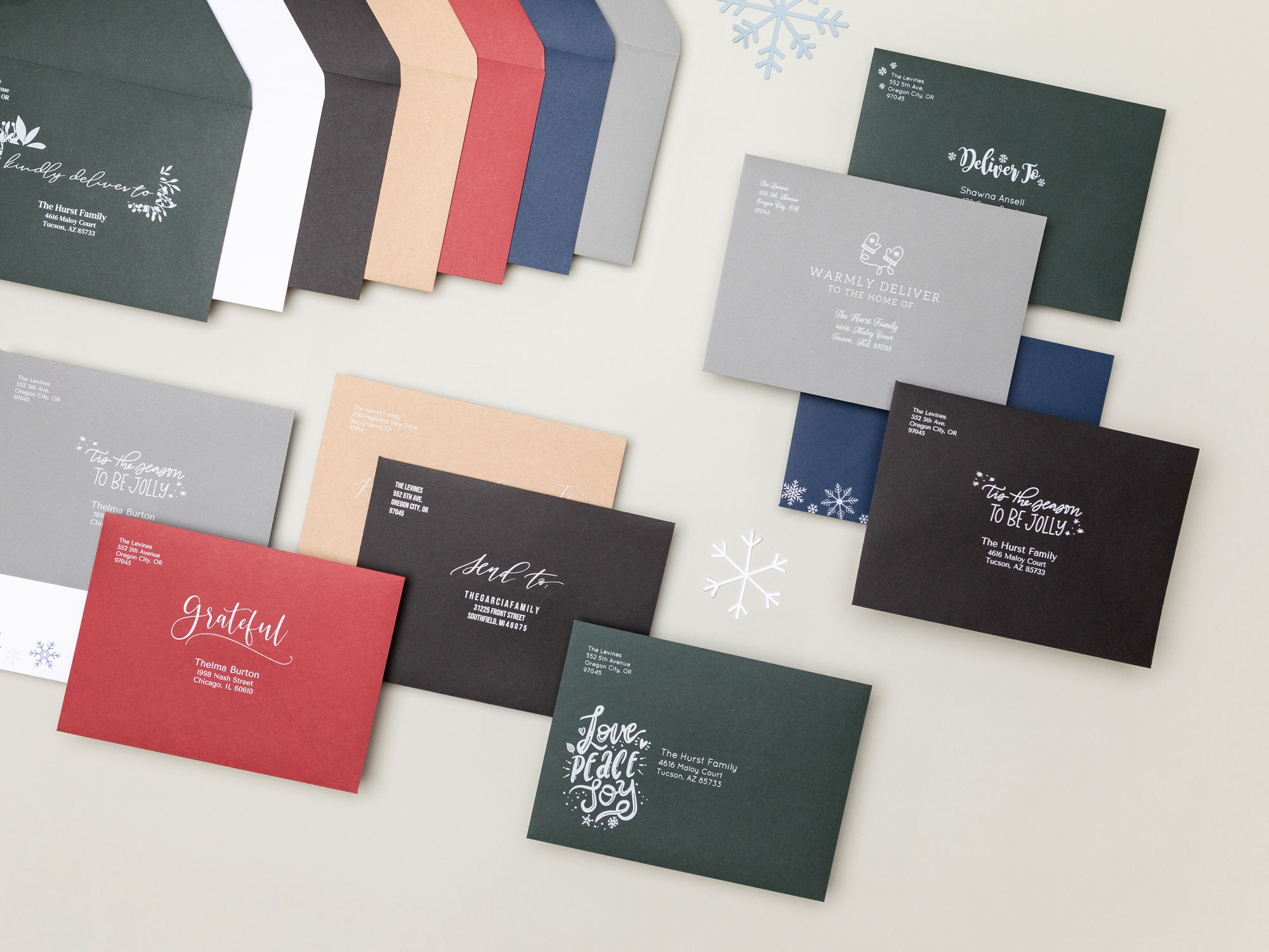 Euro flap envelopes in several colors with white ink printing for holiday cards