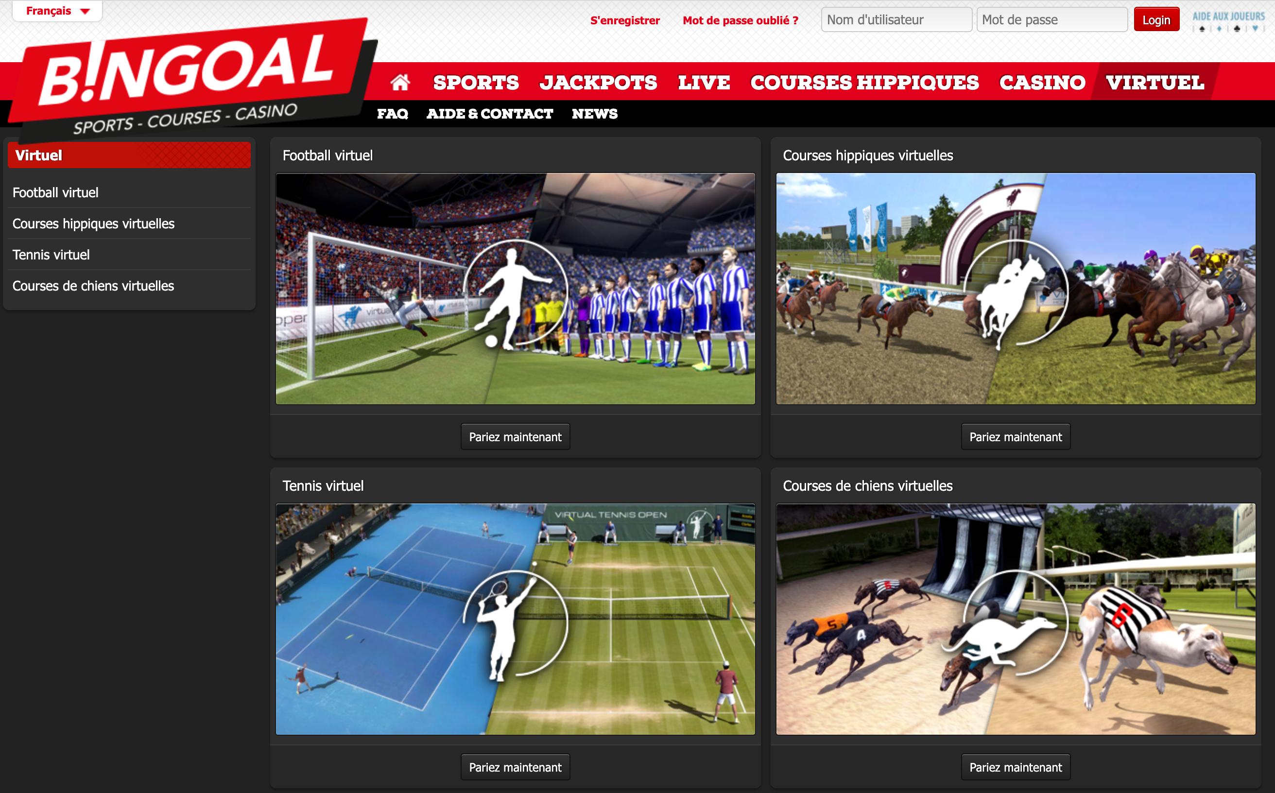 Parier sur les sports virtuelsBingoal