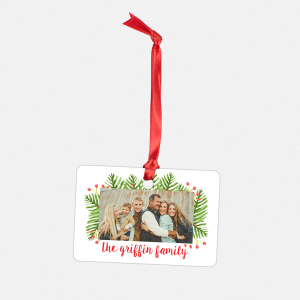 Family Name and handwritten joyful design on Metal Ornament