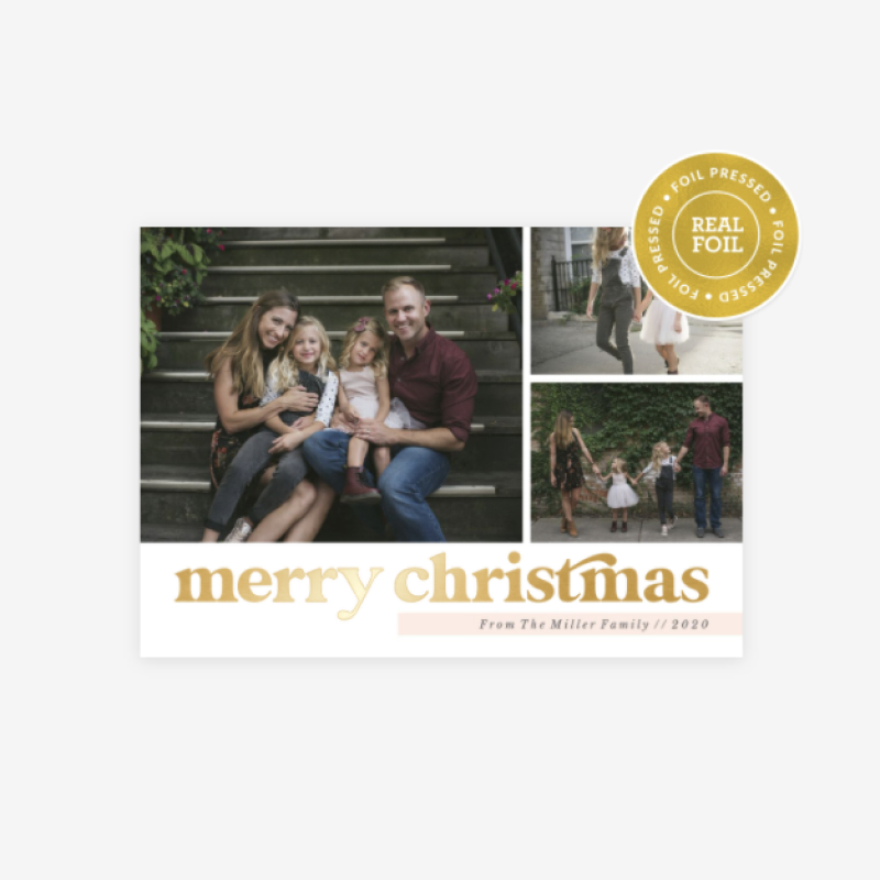 WHCC Merry Christmas Highlight holiday card design with gold foil