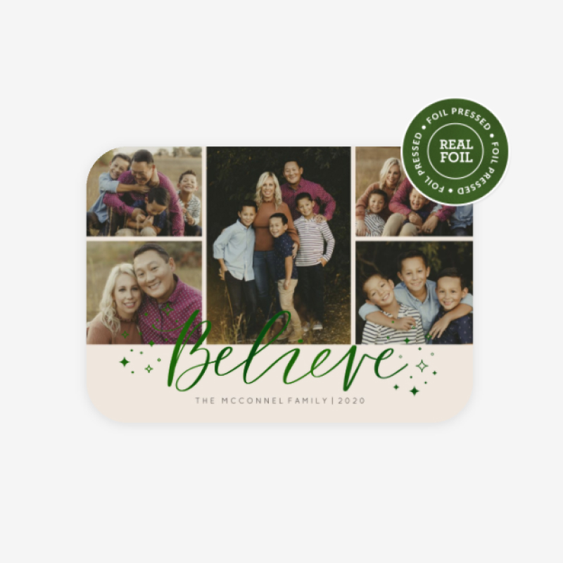 WHCC Believe in the magic holiday card design with evergreen foil