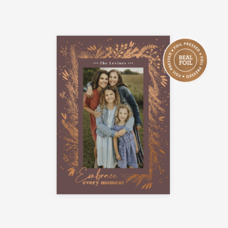 WHCC Embrace Every Moment holiday card design with rose gold foil