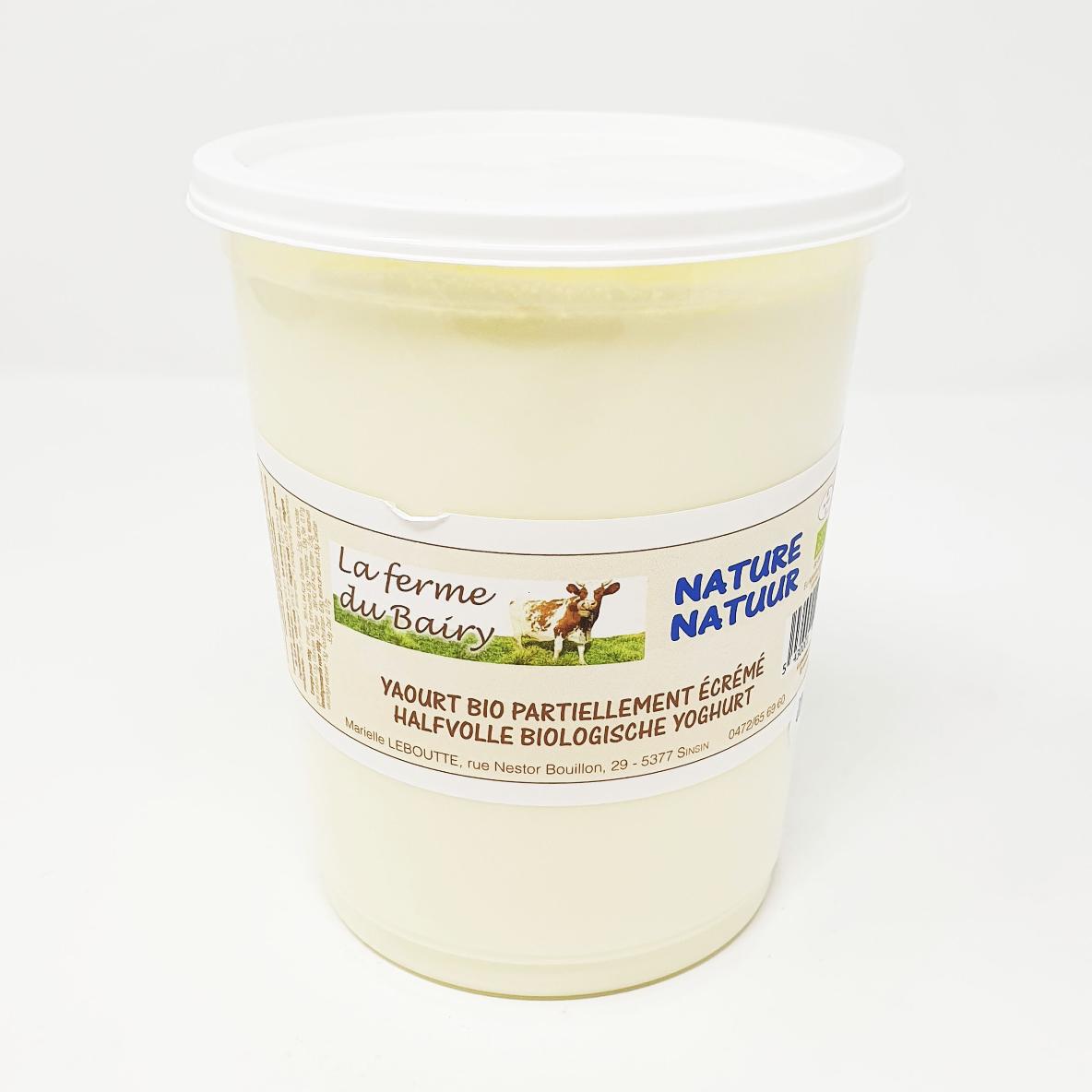 Yaourt nature lait vache partiellement écrémé ferme du Bairy bio pot 1L