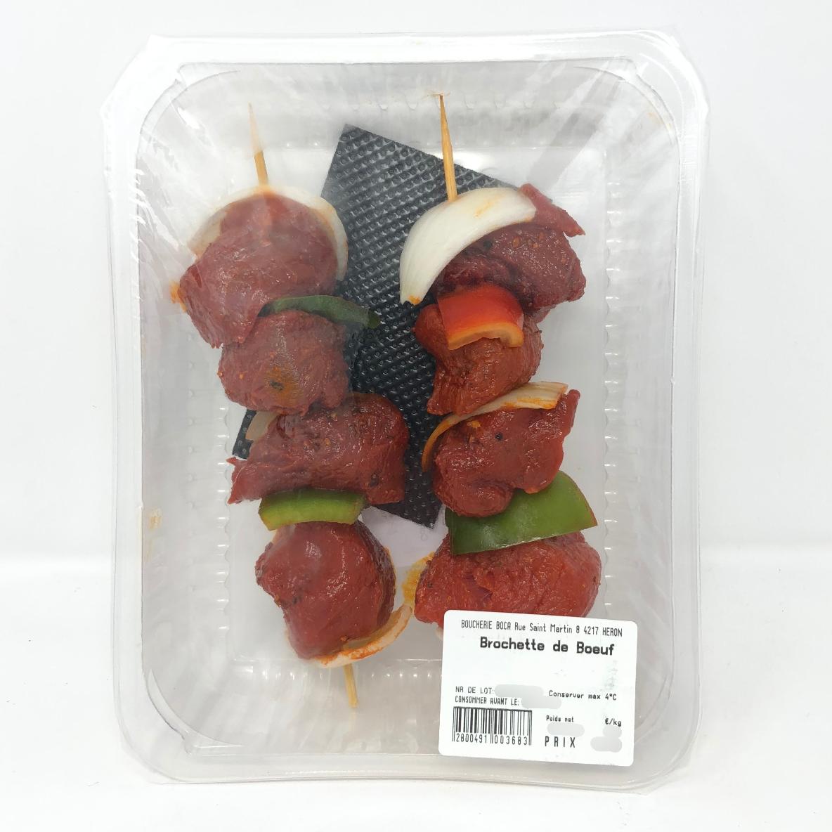 Brochettes de bœuf marinées 2p. +/- 350g boucherie La Corbeille