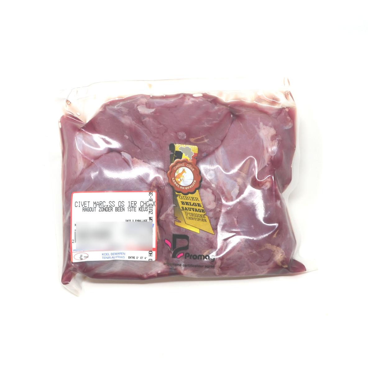 Civet de marcassin 1er choix +/- 500g