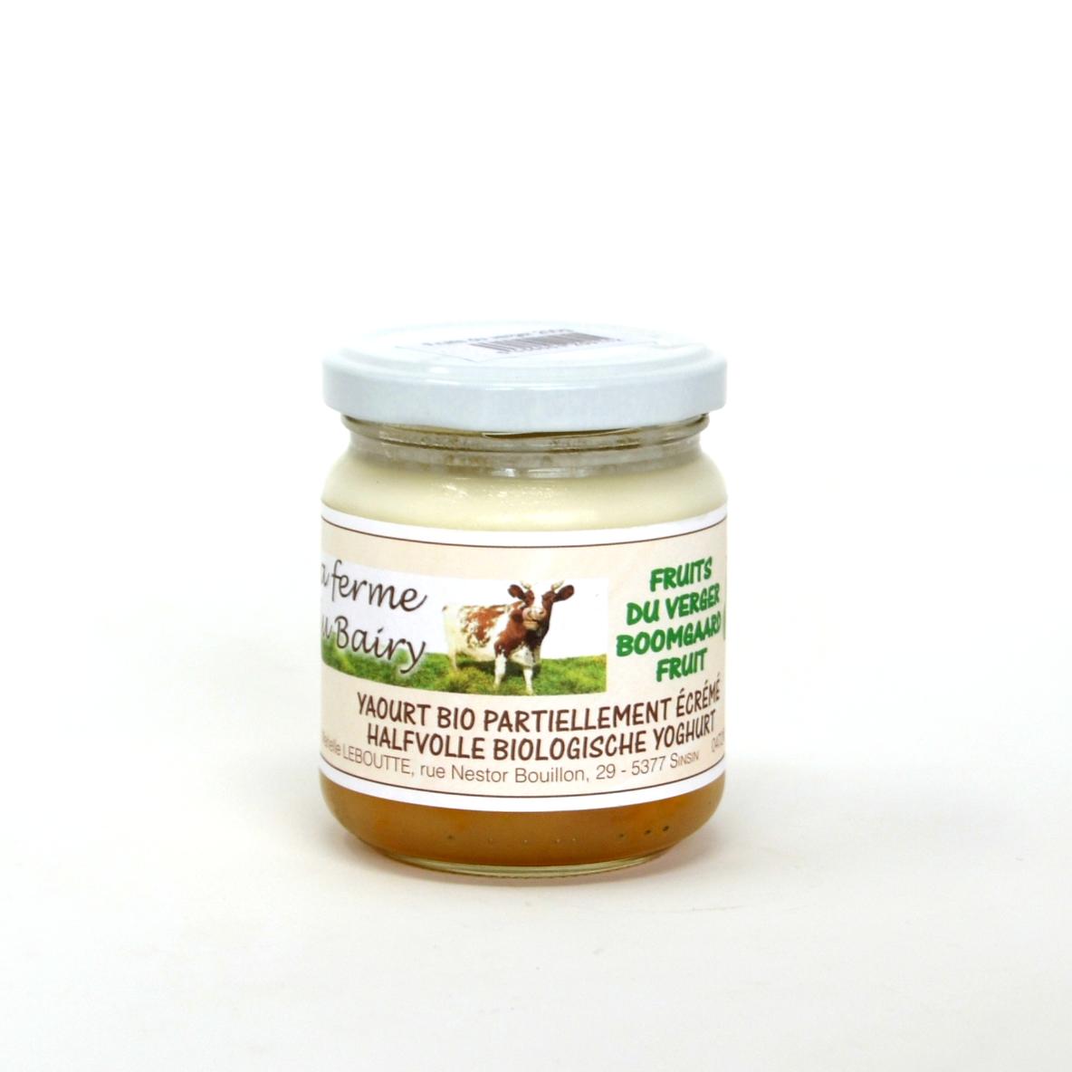 Yaourt fruits du verger lait vache Bairy 20cl bio (hors vidange 0,25€)