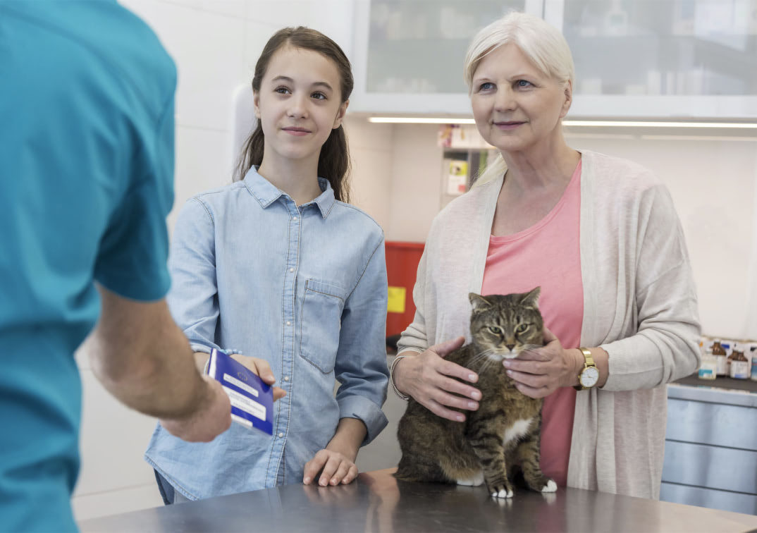 A mother and daughter at the vet with their cat