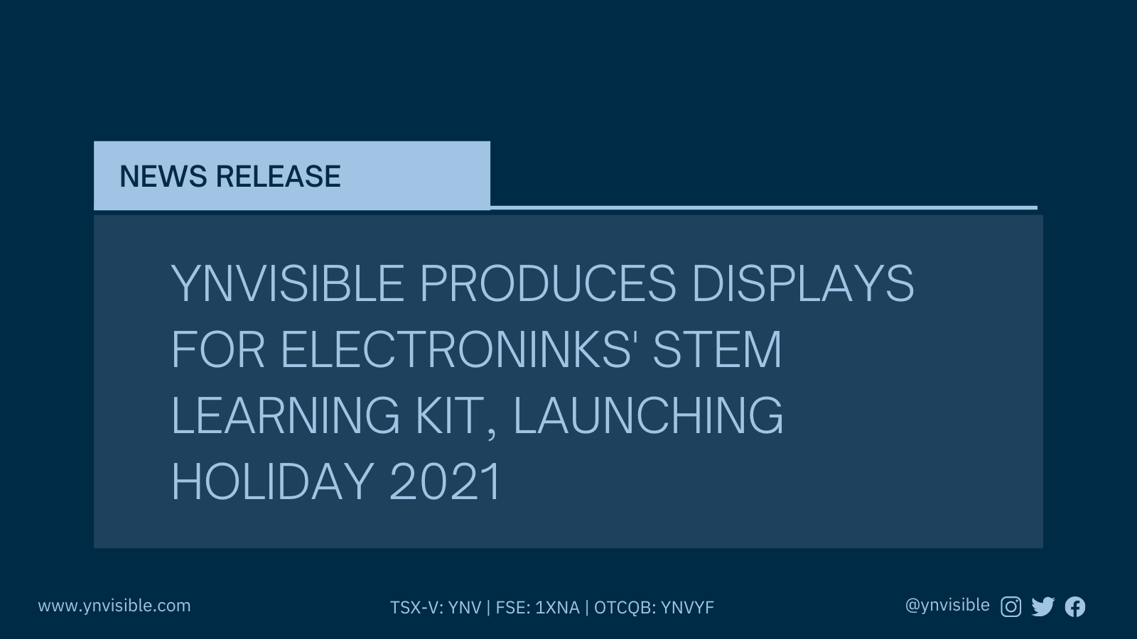 Ynvisible Produces Displays For Electroninks' Stem Learning Kit, Launching Holiday 2021