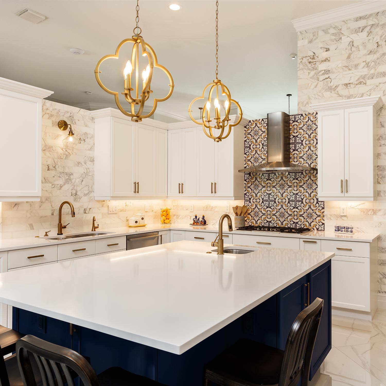 White Stone Counter Kitchen