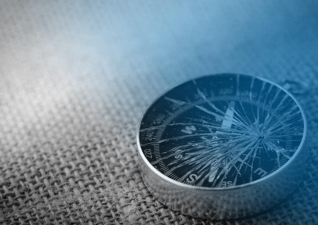 Compass with broken glass