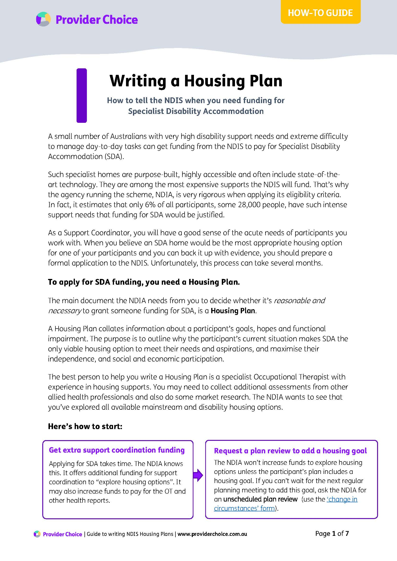How to write a Housing Plan